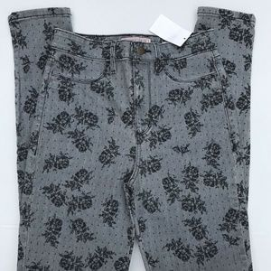 GUESS SKINNY FLORAL JEANS SIZE 27 COLOR GRAY